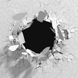 Cracked concrete wall with bullet hole. Destruction Abstract background - 167271801