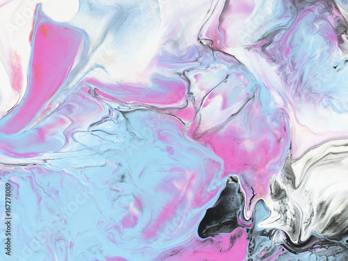 Blue and pink abstract art hand painted background.