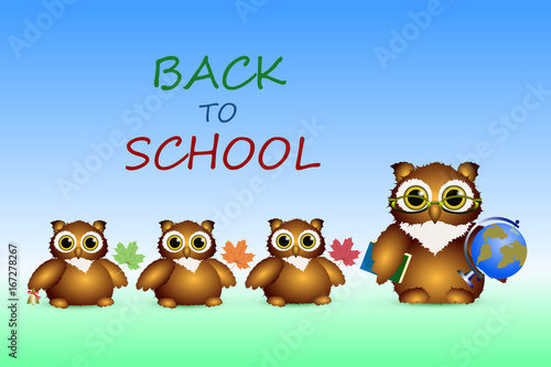 Foto op Aluminium Uilen cartoon Owl - a teacher and owls - a pupils