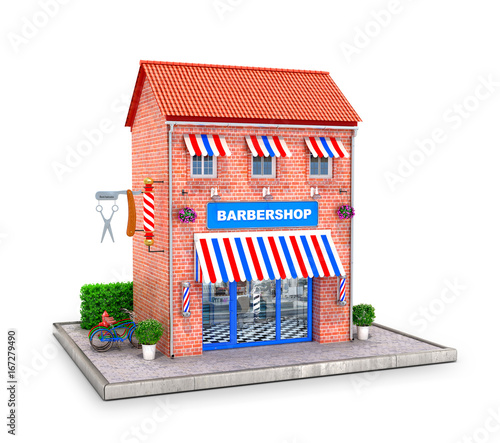 Building of a hairdresser with elements exterair on a white background. Barbershop. 3D illustration.