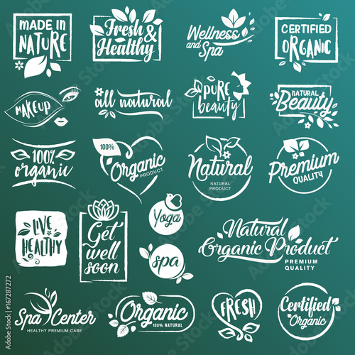 Collection of stickers and elements for natural cosmetics and beauty products. Vector illustrations on a stylized background, for cosmetics, healthcare, spa and wellness.  - 167287272