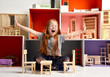 Quadro Red hair Baby Girl Kid playing with doll house stuffed with mini furniture toys