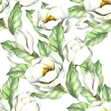 Seamless pattern with magnolia. Hand draw watercolor illustration. - 167290207
