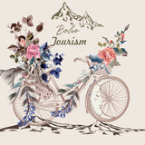 Beautiful boho illustration with bicycle in tribal style with feathers, flowers and arrows - 167290660