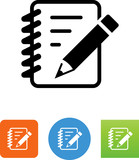 Notebook With Pencil Icon - Illustration - 167292207