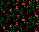 Floral seamless pattern of small flowers poppies on a black background
