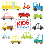 Set of kids transport.Collection cars. Vector illustration