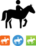 Person Riding A Horse Icon - Illustration - 167296097