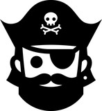 Pirate  Jolly Roger Hat Icon Wall Sticker