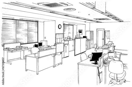 漫画風ペン画イラスト オフィス街(室内) - 167305457
