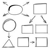 hand drawn diagram elements, arrow, circle rectangle - 167326477