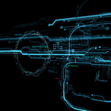 3d Futuristic user interface. Technological background. Security data base.