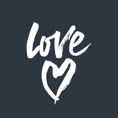 Love lettering. Romantic handwritten phrase about love with heart.