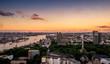 Sunset panorama of Hamburg city with harbor - 167328469