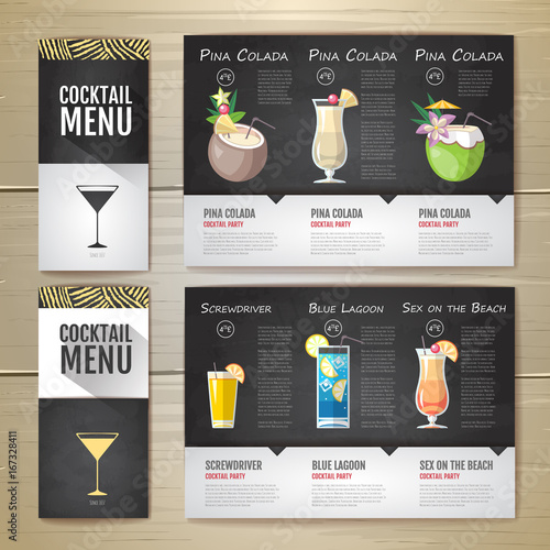 Flat Cocktail menu concept design. Corporate identity. Document template