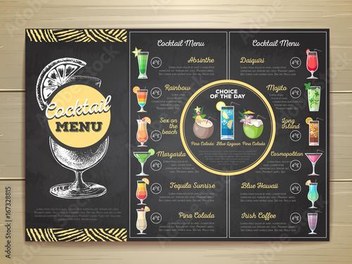 Vintage chalk drawing flat cocktail menu design. Corporate identity
