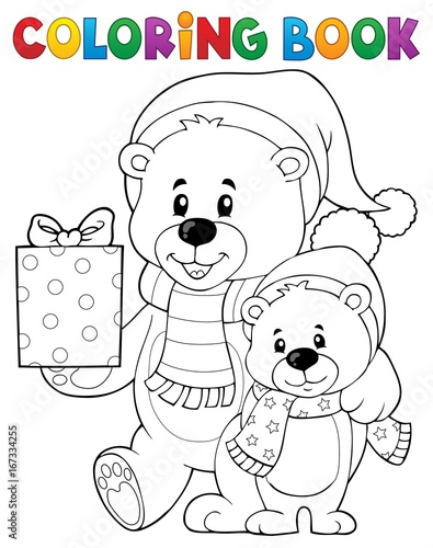 Tuinposter Voor kinderen Coloring book Christmas bears theme 1