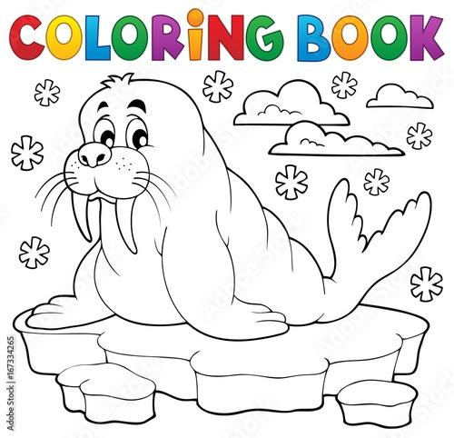 Tuinposter Voor kinderen Coloring book walrus theme 1