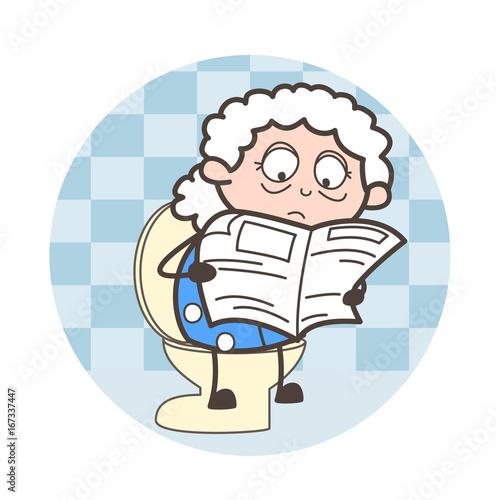 Sticker Cartoon Grandpa Reading Newspaper Vector Illustration