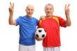 Quadro Elderly soccer players making victory signs