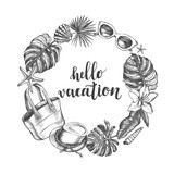 Background with sea shells, tropical plants, beach accessories. Vacation Ink hand drawn elements with brush calligraphy style lettering. Template for cards, posters design. Vector illustration. - 167347261