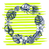 Wreath of sea shells, starfish, tropical plants and flowers. Summer Ink hand drawn elements on a striped background. Template for cards, invitations, posters design. Vector illustration. - 167349275