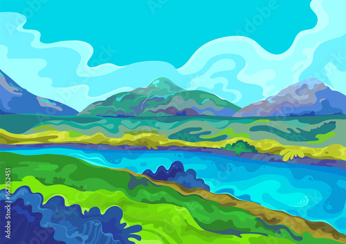 Foto op Plexiglas Turkoois Landscape, Vector illustration