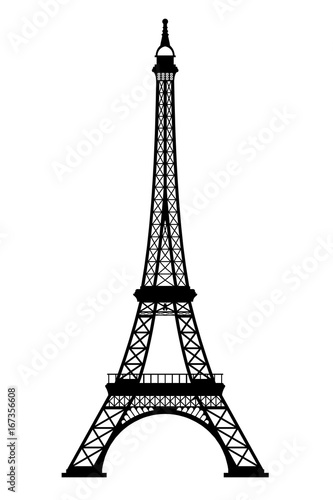 Eiffel tower black silhouette on white background, 3D rendering - 167356608