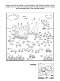Connect the dots picture puzzle and coloring page with walking elephant. Answer included.