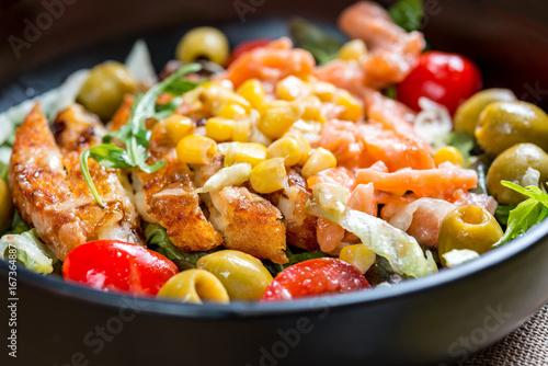 Fresh seafood salad with smoked salmon - 167364887