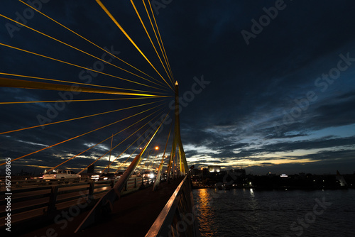 The Rama VIII Cable Bridge crossing the Chao Phraya River in Bangkok, Thailand