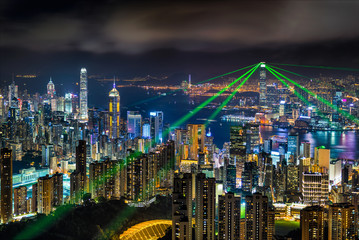 Hong kong view at the peak of mountain during Hong kong shopping festival with laser show.