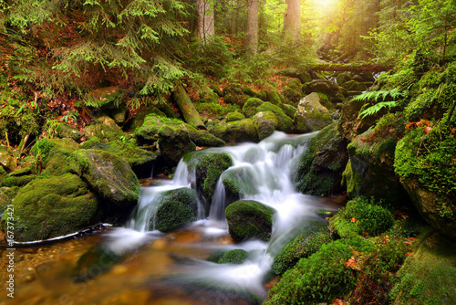 Waterfall on mountain stream in the National park Sumava-Czech Republic