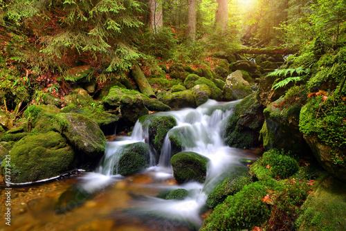 Fototapety, obrazy : Waterfall on mountain stream in the National park Sumava-Czech Republic