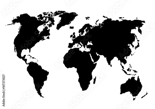 Canvas Wereldkaarten Hand drawn vector illustration. Circuit of World map. Map template perfect for infographics, designs, cards, prints