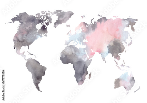 Watercolor vector illustration. Colorful World map. Perfect for wedding invitations, greeting cards, prints - 167373880