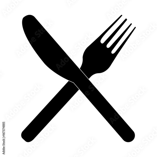 Isolated fork and knife on a white background, vector illustration
