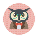 Hipster owl with glasses and bow tie