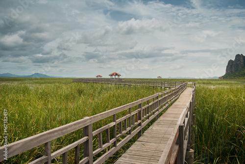 Wooden Bridge in lake at Sam Roi Yod National Park, Prachuap Khiri Khan, Thailand.
