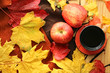 Quadro Autumn mood. Autumn tea drinking. Autumn maple leaves, tea, apples and a warm blanket