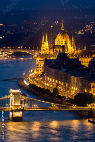 Vertical picture of Parliament Building in Budapest at night