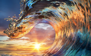 Colorful Ocean Wave. Sea water in crest shape. Sunset light and beautiful clouds on background © willyam