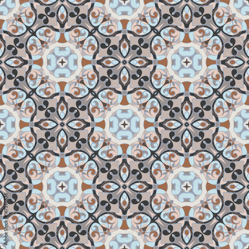 Abstract Oriental pattern. Seamless symmetrical pattern of swirls, lines and stars. Vector illustration. - 167388836