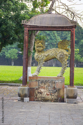 Chinese imperial lion statue in Hue imperial city Poster