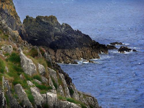 Poster Grijze traf. Felsenküste am Groudle Glen