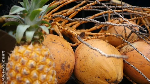 Close up, pineapples and other tropical fruit