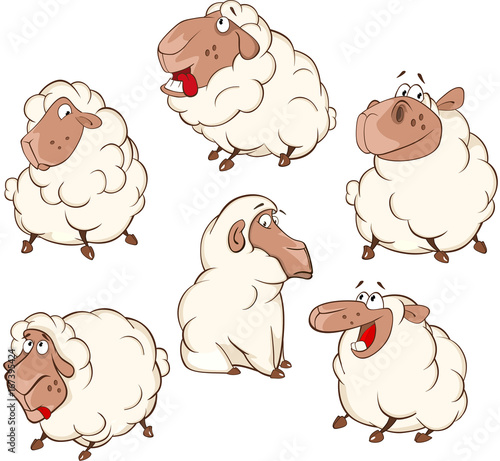 Set of Cartoon Illustration.A Different Sheep for you Design. Cartoon Character