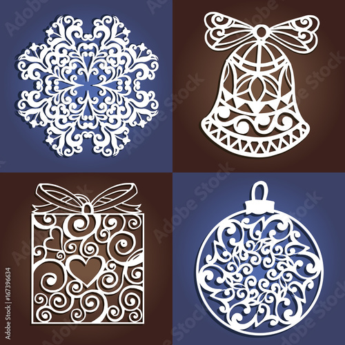 set of openwork christmas decorations laser cutting template christmas gift for wood carving - Wooden Laser Cut Christmas Decorations