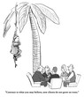 Business or legal cartoon about new clients not growing on trees, but a client is, in fact, swinging in from a tree.