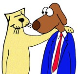 Cartoon illustration of a cat and dog that are friends.